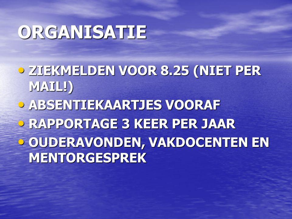 ORGANISATIE ZIEKMELDEN VOOR 8.25 (NIET PER MAIL!) ZIEKMELDEN VOOR 8.25 (NIET PER MAIL!) ABSENTIEKAARTJES VOORAF ABSENTIEKAARTJES VOORAF RAPPORTAGE 3 K