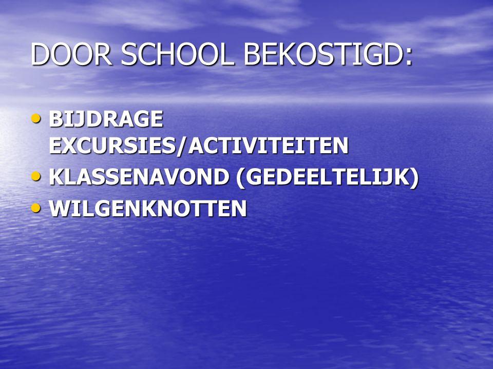 DOOR SCHOOL BEKOSTIGD: BIJDRAGE EXCURSIES/ACTIVITEITEN BIJDRAGE EXCURSIES/ACTIVITEITEN KLASSENAVOND (GEDEELTELIJK) KLASSENAVOND (GEDEELTELIJK) WILGENKNOTTEN WILGENKNOTTEN