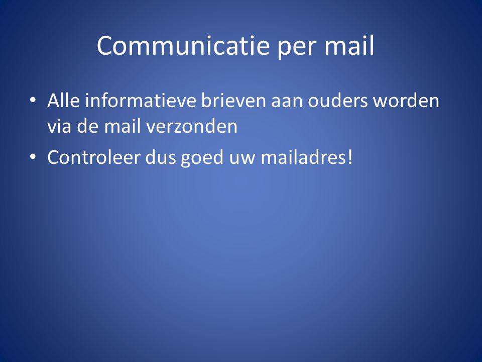 Communicatie per mail Alle informatieve brieven aan ouders worden via de mail verzonden Controleer dus goed uw mailadres!