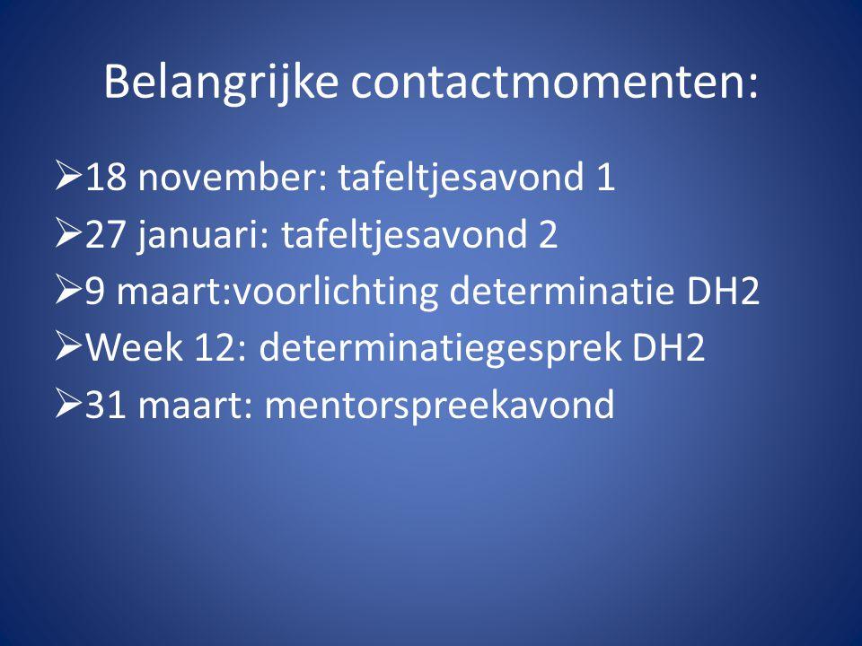 Belangrijke contactmomenten:  18 november: tafeltjesavond 1  27 januari: tafeltjesavond 2  9 maart:voorlichting determinatie DH2  Week 12: determi