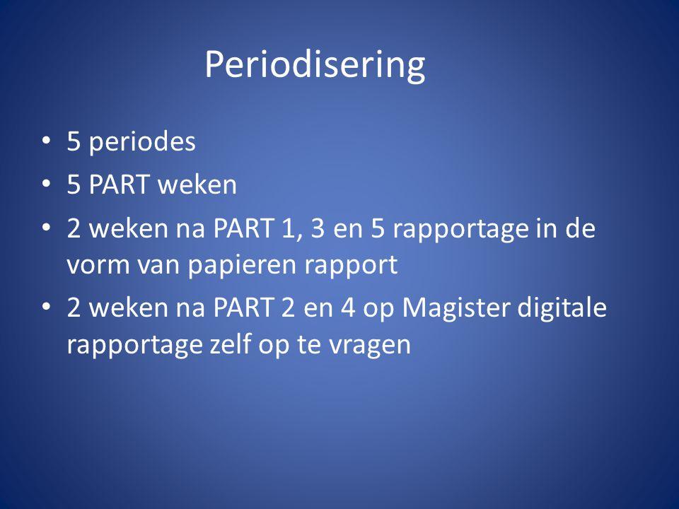 Periodisering 5 periodes 5 PART weken 2 weken na PART 1, 3 en 5 rapportage in de vorm van papieren rapport 2 weken na PART 2 en 4 op Magister digitale
