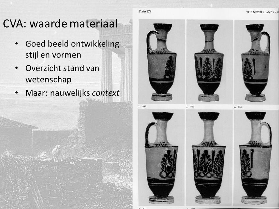 CVA: waarde materiaal Goed beeld ontwikkeling stijl en vormen Overzicht stand van wetenschap Maar: nauwelijks context