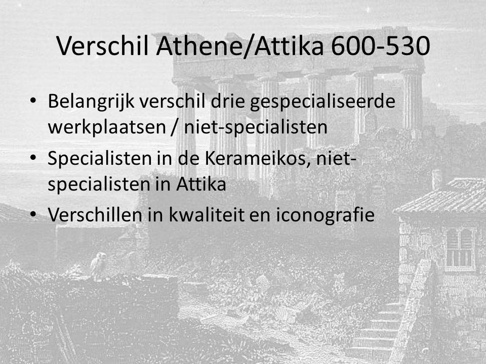 Verschil Athene/Attika 600-530 Belangrijk verschil drie gespecialiseerde werkplaatsen / niet-specialisten Specialisten in de Kerameikos, niet- specialisten in Attika Verschillen in kwaliteit en iconografie