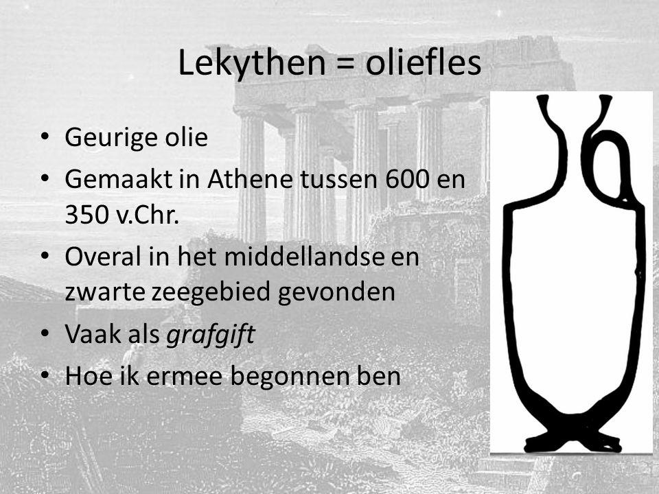Lekythen = oliefles Geurige olie Gemaakt in Athene tussen 600 en 350 v.Chr.