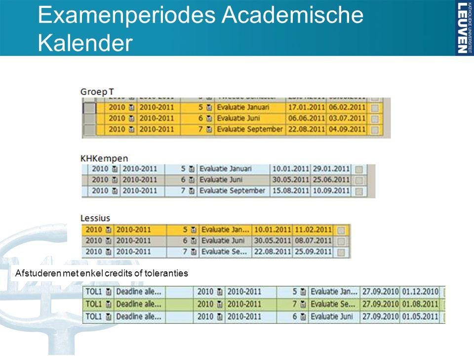 Examenperiodes Academische Kalender Afstuderen met enkel credits of toleranties Examenperiodes