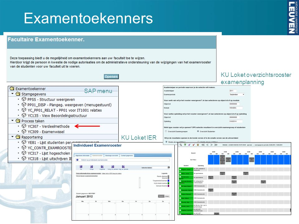 Examentoekenners SAP menu KU Loket IER KU Loket overzichtsrooster examenplanning