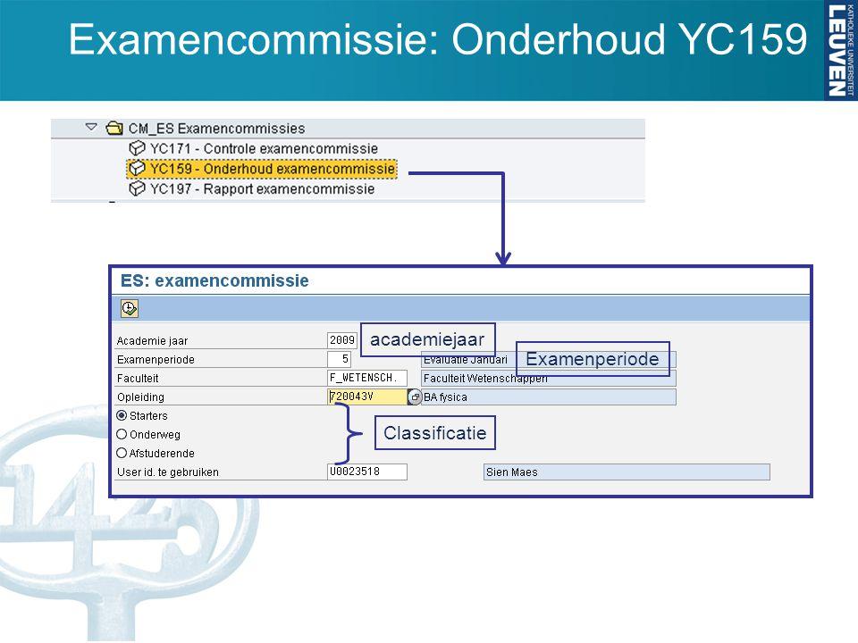 Examencommissie: Onderhoud YC159 academiejaar Examenperiode Classificatie