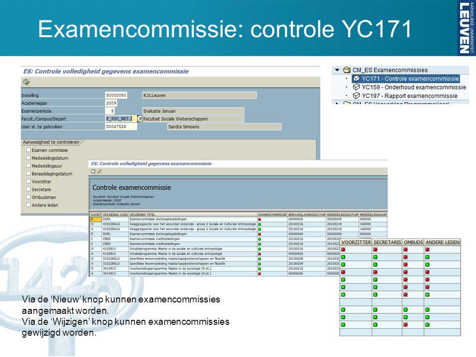 Examencommissie: controle YC171 Via de 'Nieuw' knop kunnen examencommissies aangemaakt worden. Via de 'Wijzigen' knop kunnen examencommissies gewijzig