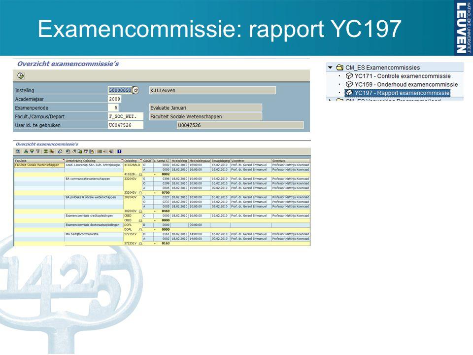 Examencommissie: rapport YC197