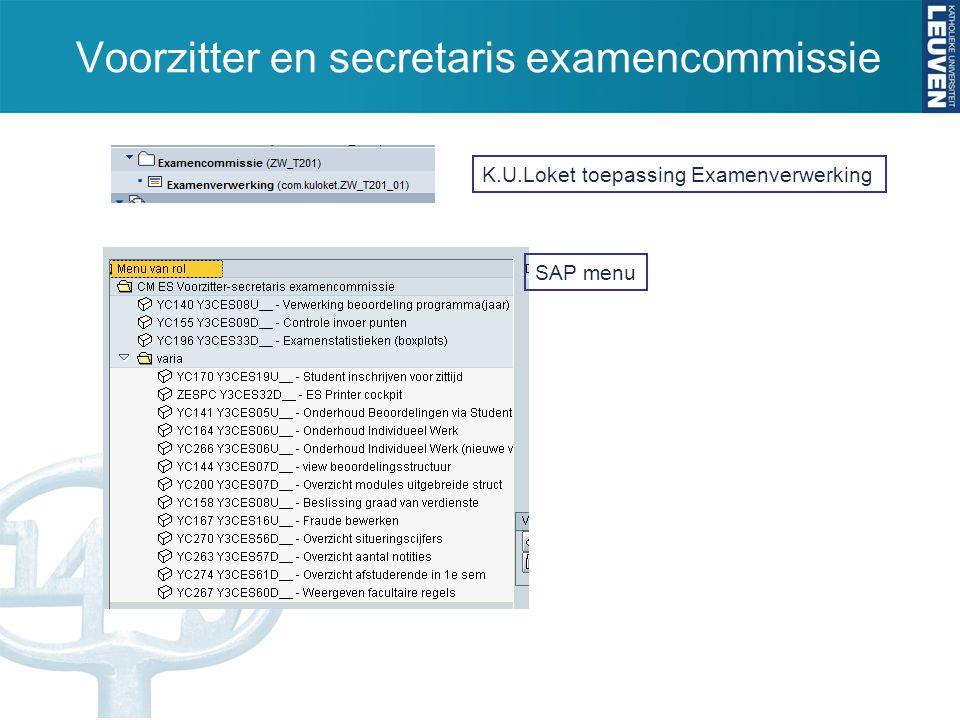 Voorzitter en secretaris examencommissie K.U.Loket toepassing Examenverwerking SAP menu