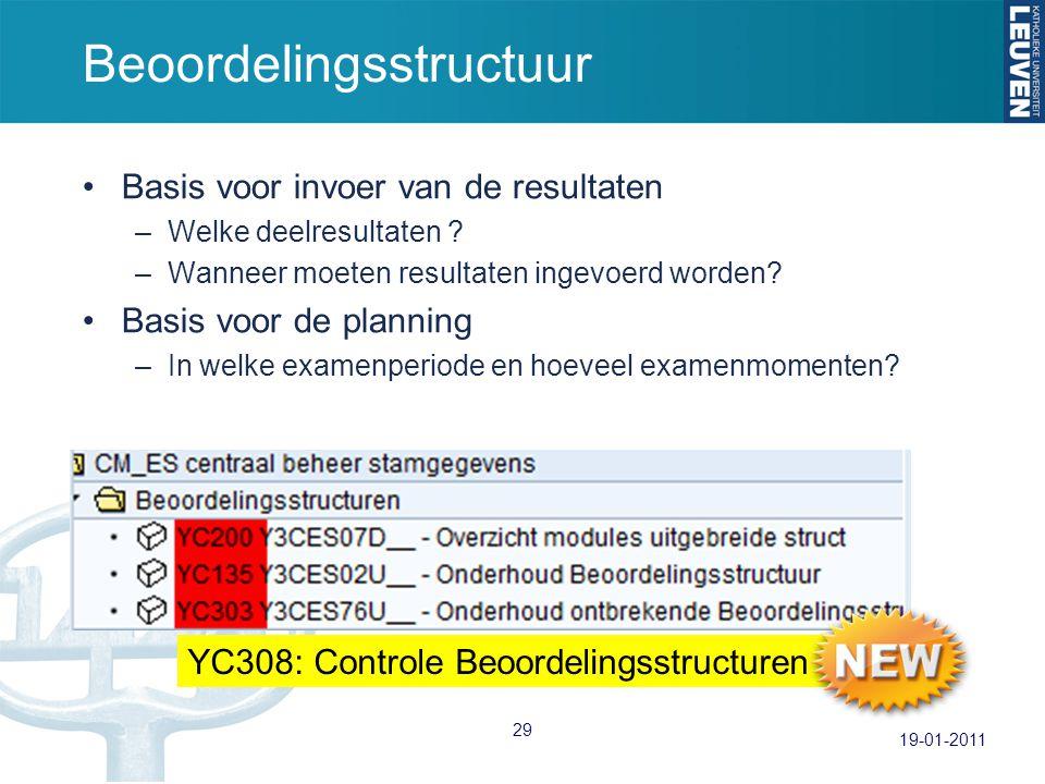 Beoordelingsstructuur Basis voor invoer van de resultaten –Welke deelresultaten ? –Wanneer moeten resultaten ingevoerd worden? Basis voor de planning