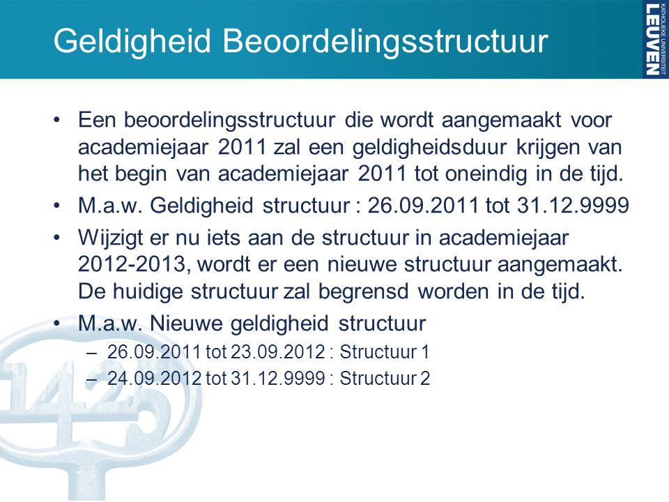 Geldigheid Beoordelingsstructuur Een beoordelingsstructuur die wordt aangemaakt voor academiejaar 2011 zal een geldigheidsduur krijgen van het begin v