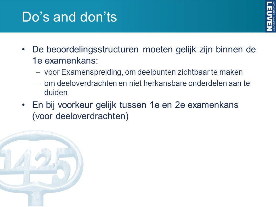 Do's and don'ts De beoordelingsstructuren moeten gelijk zijn binnen de 1e examenkans: –voor Examenspreiding, om deelpunten zichtbaar te maken –om deel