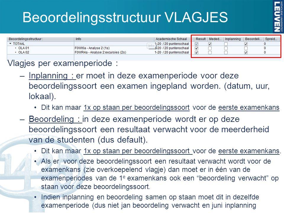 Beoordelingsstructuur VLAGJES Vlagjes per examenperiode : –Inplanning : er moet in deze examenperiode voor deze beoordelingssoort een examen ingepland