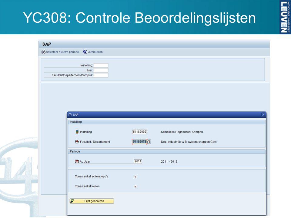 YC308: Controle Beoordelingslijsten