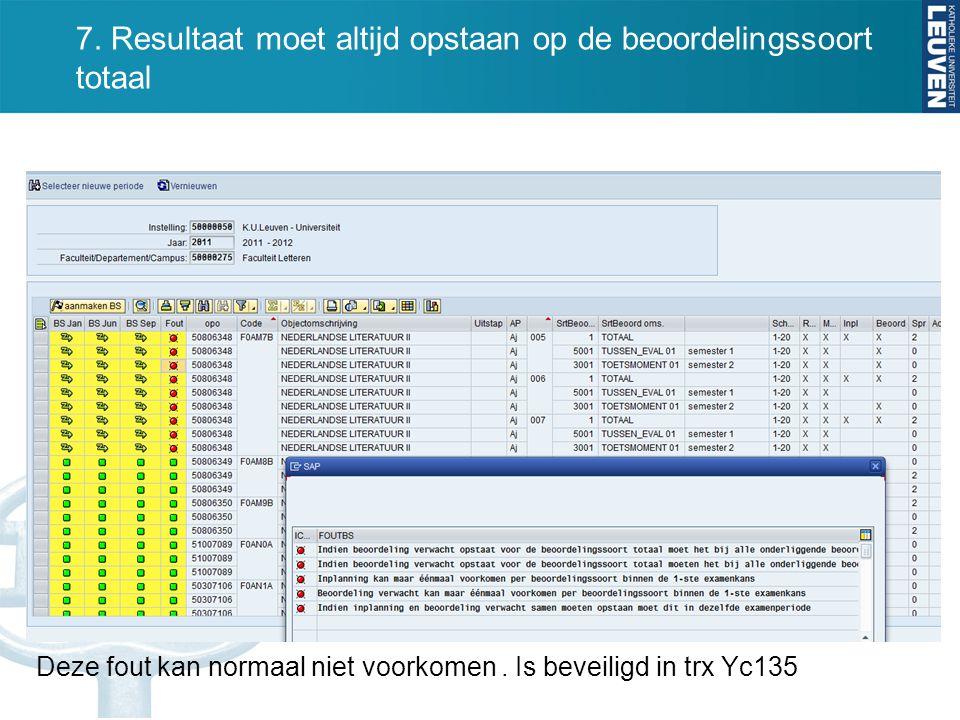 7. Resultaat moet altijd opstaan op de beoordelingssoort totaal Deze fout kan normaal niet voorkomen. Is beveiligd in trx Yc135