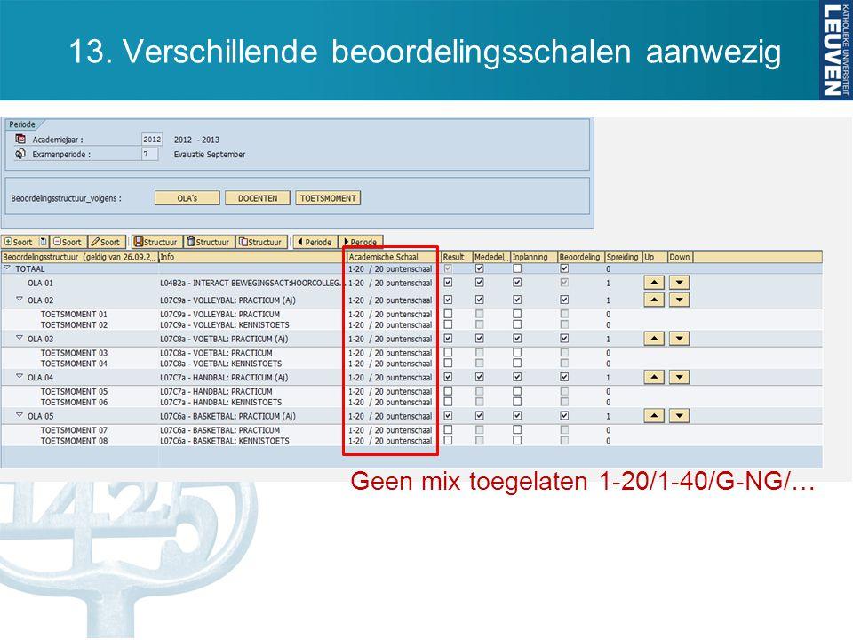13. Verschillende beoordelingsschalen aanwezig Geen mix toegelaten 1-20/1-40/G-NG/…