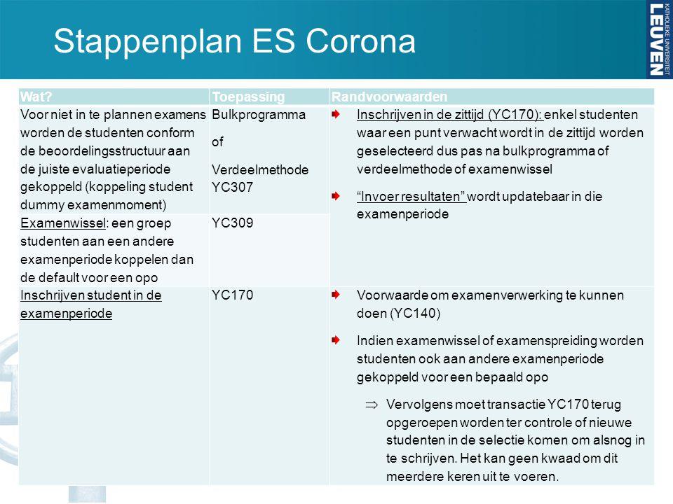 Stappenplan ES Corona Wat?ToepassingRandvoorwaarden Voor niet in te plannen examens worden de studenten conform de beoordelingsstructuur aan de juiste