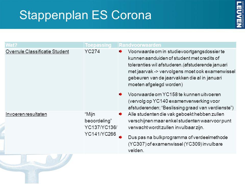 Stappenplan ES Corona Wat?ToepassingRandvoorwaarden Overrule Classificatie StudentYC274 Voorwaarde om in studievoortgangsdossier te kunnen aanduiden o
