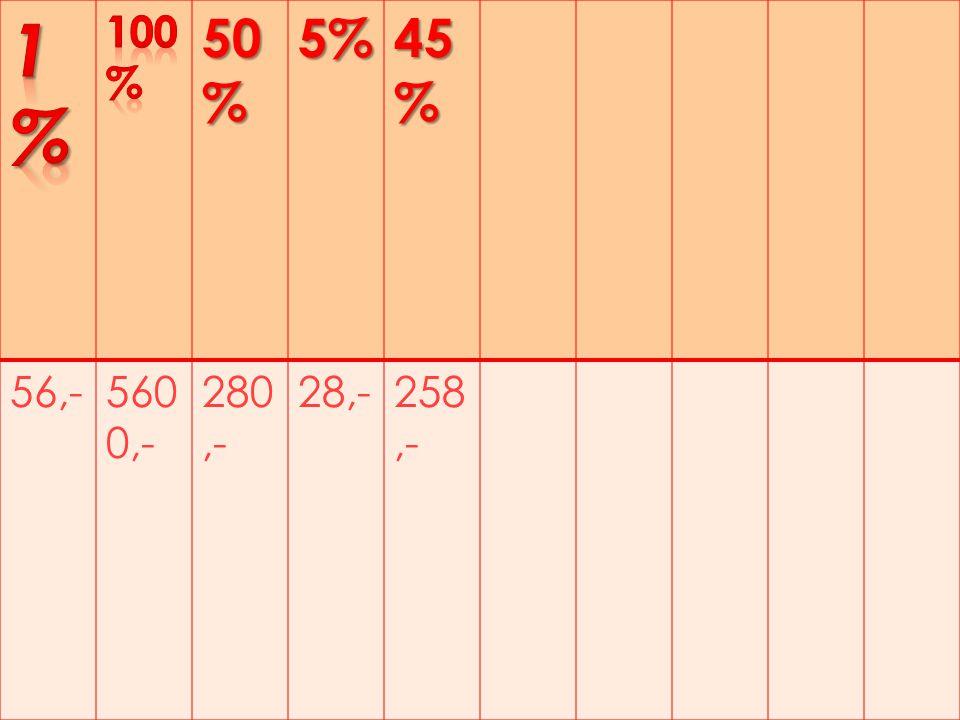 50 % 5% 45 % 56,-560 0,- 280,- 28,-258,-
