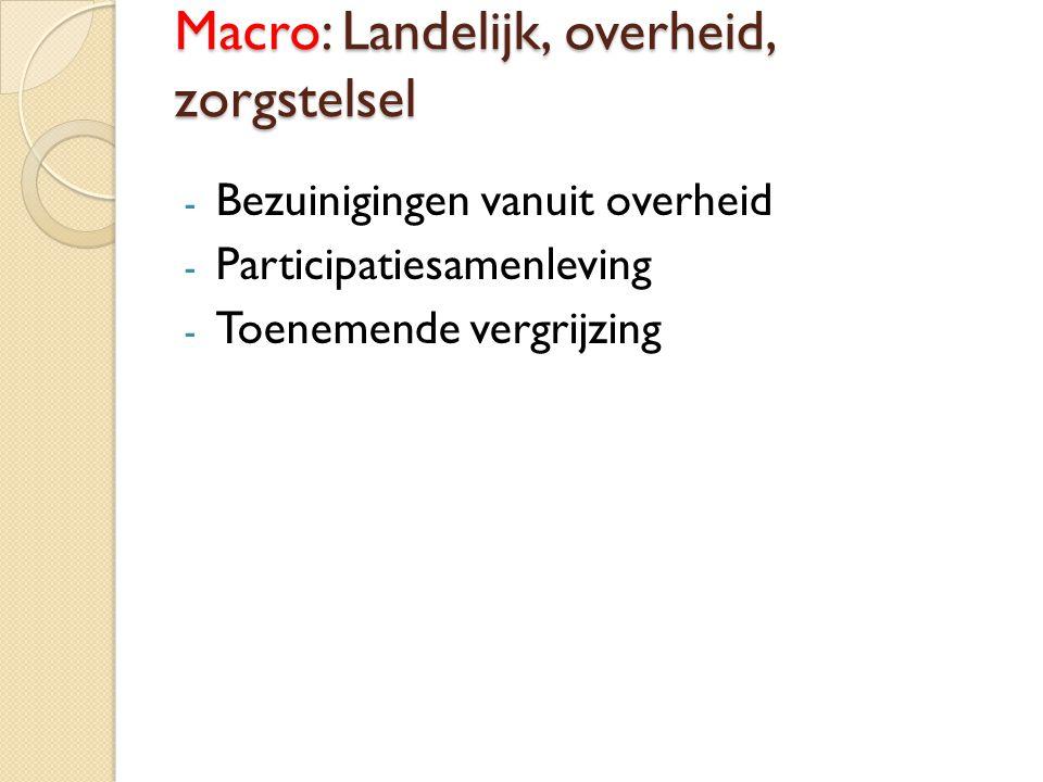 Macro: Landelijk, overheid, zorgstelsel - Bezuinigingen vanuit overheid - Participatiesamenleving - Toenemende vergrijzing