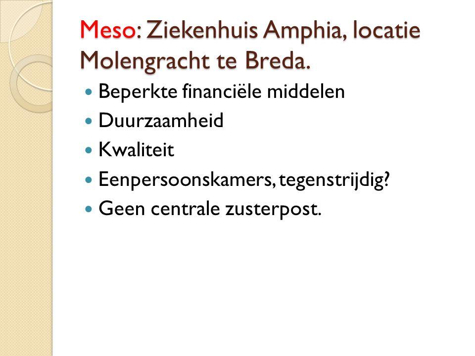 Meso: Ziekenhuis Amphia, locatie Molengracht te Breda. Beperkte financiële middelen Duurzaamheid Kwaliteit Eenpersoonskamers, tegenstrijdig? Geen cent