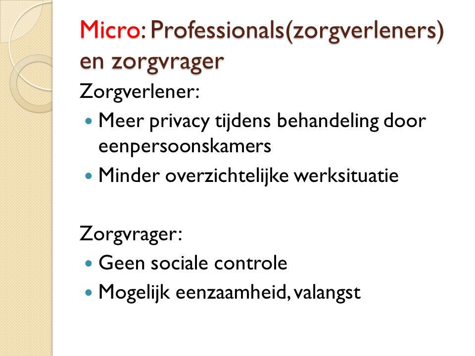 Micro: Professionals(zorgverleners) en zorgvrager Zorgverlener: Meer privacy tijdens behandeling door eenpersoonskamers Minder overzichtelijke werksit