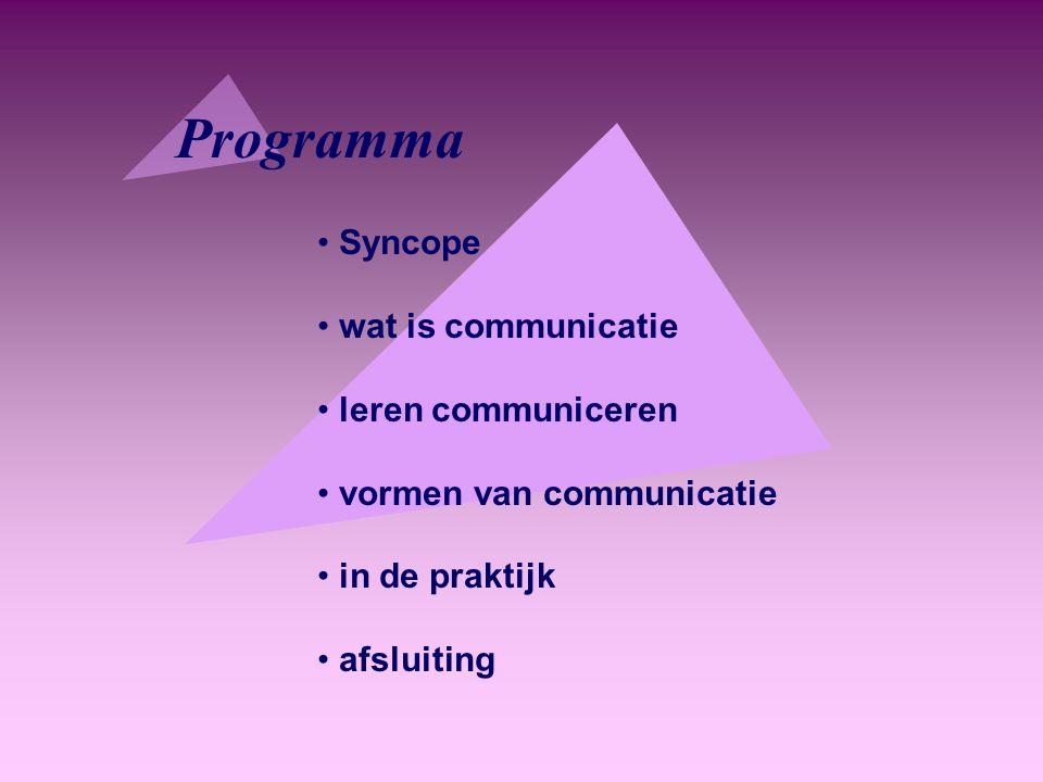 Programma Syncope wat is communicatie leren communiceren vormen van communicatie in de praktijk afsluiting