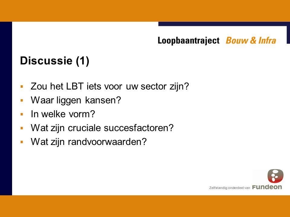 Discussie (1) Zelfstandig onderdeel van  Zou het LBT iets voor uw sector zijn.