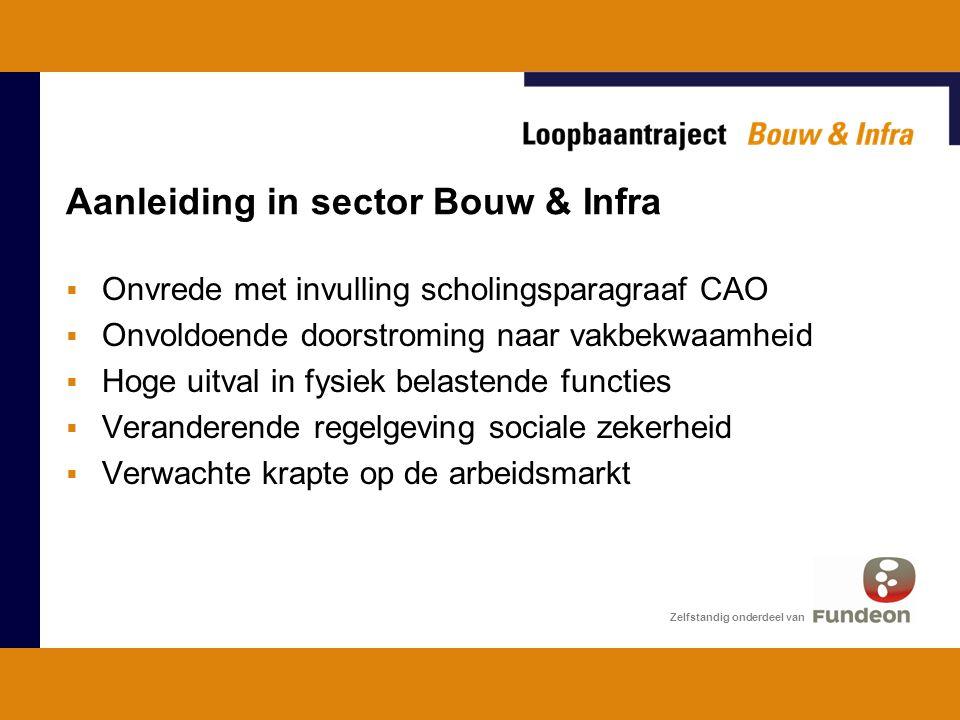 Aanleiding in sector Bouw & Infra  Onvrede met invulling scholingsparagraaf CAO  Onvoldoende doorstroming naar vakbekwaamheid  Hoge uitval in fysiek belastende functies  Veranderende regelgeving sociale zekerheid  Verwachte krapte op de arbeidsmarkt Zelfstandig onderdeel van