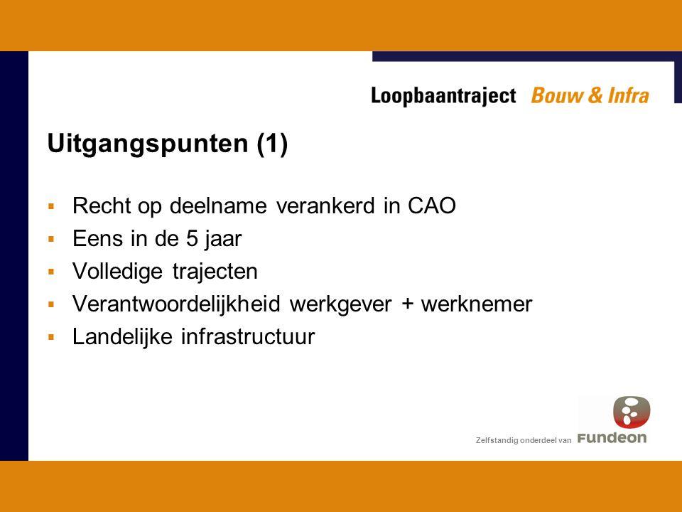 Uitgangspunten (1)  Recht op deelname verankerd in CAO  Eens in de 5 jaar  Volledige trajecten  Verantwoordelijkheid werkgever + werknemer  Landelijke infrastructuur Zelfstandig onderdeel van