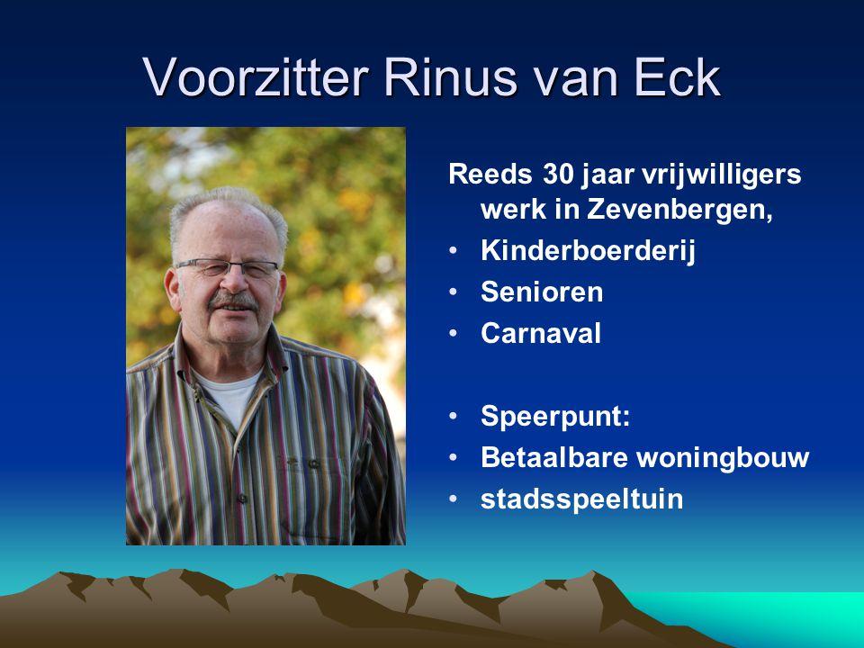 Voorzitter Rinus van Eck Reeds 30 jaar vrijwilligers werk in Zevenbergen, Kinderboerderij Senioren Carnaval Speerpunt: Betaalbare woningbouw stadsspee