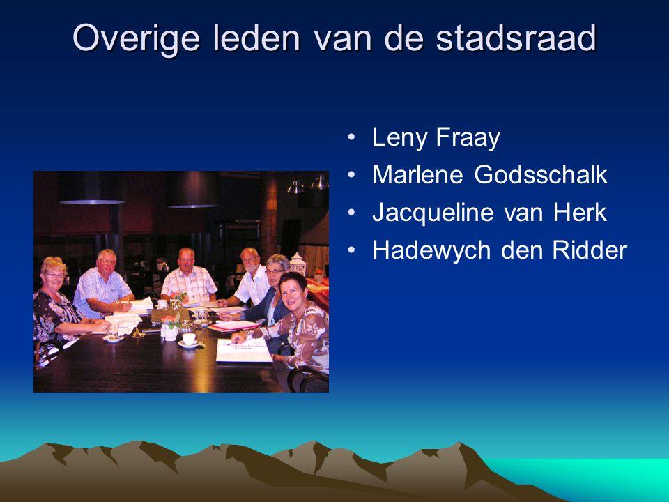 Overige leden van de stadsraad Leny Fraay Marlene Godsschalk Jacqueline van Herk Hadewych den Ridder