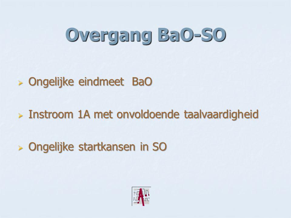 Overgang BaO-SO  Ongelijke eindmeet BaO  Instroom 1A met onvoldoende taalvaardigheid  Ongelijke startkansen in SO