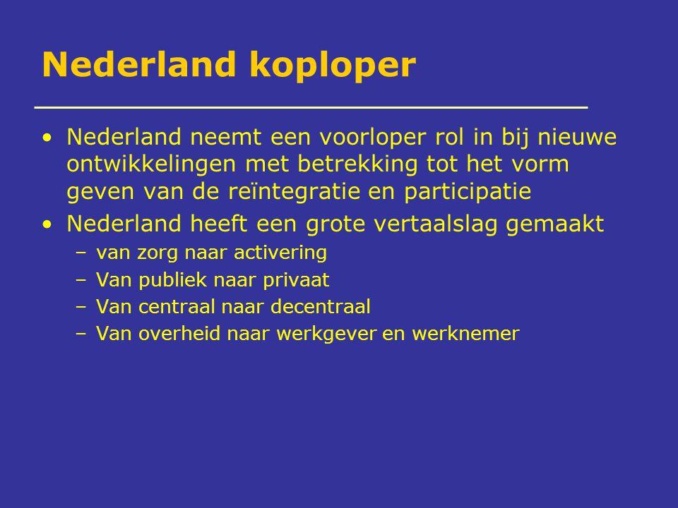 Nederland koploper Nederland neemt een voorloper rol in bij nieuwe ontwikkelingen met betrekking tot het vorm geven van de reïntegratie en participatie Nederland heeft een grote vertaalslag gemaakt –van zorg naar activering –Van publiek naar privaat –Van centraal naar decentraal –Van overheid naar werkgever en werknemer