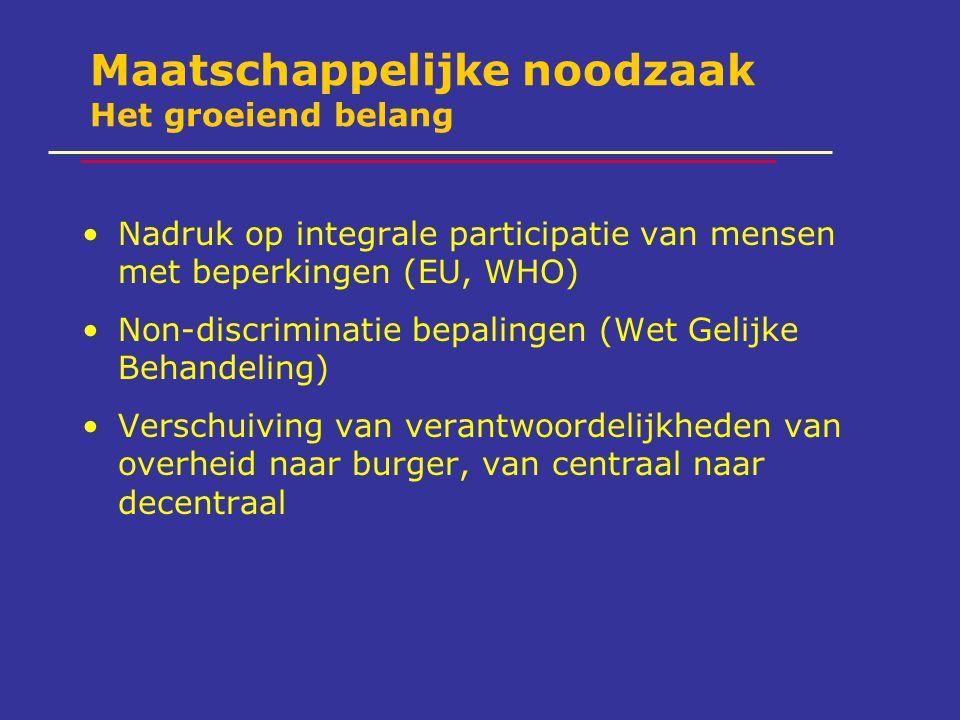 Maatschappelijke noodzaak Het groeiend belang Nadruk op integrale participatie van mensen met beperkingen (EU, WHO) Non-discriminatie bepalingen (Wet Gelijke Behandeling) Verschuiving van verantwoordelijkheden van overheid naar burger, van centraal naar decentraal