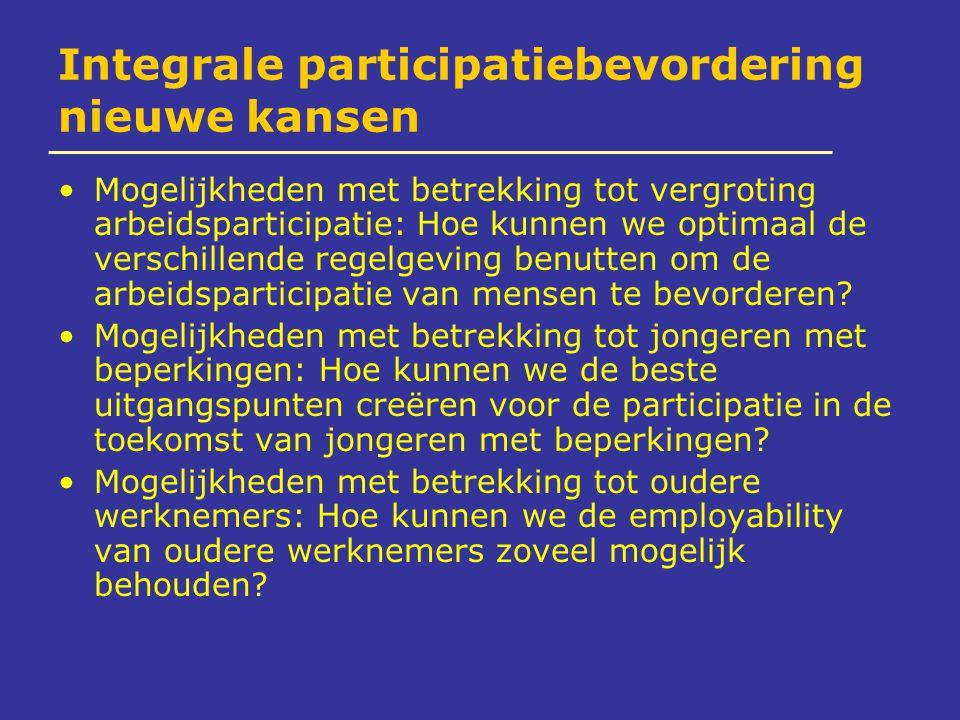 Integrale participatiebevordering nieuwe kansen Mogelijkheden met betrekking tot vergroting arbeidsparticipatie: Hoe kunnen we optimaal de verschillende regelgeving benutten om de arbeidsparticipatie van mensen te bevorderen.