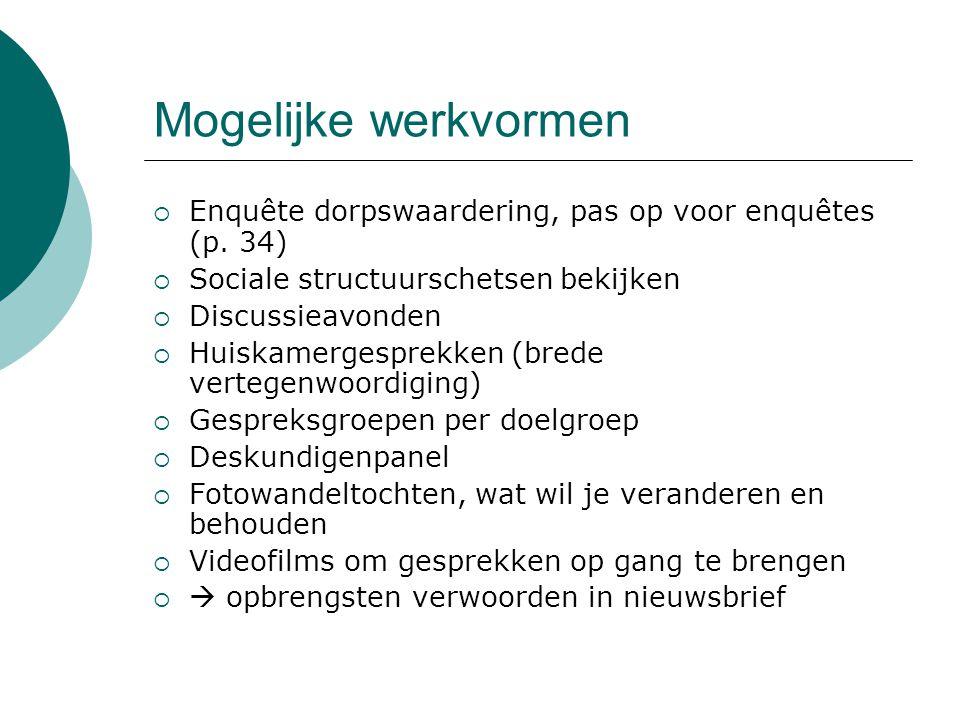 Mogelijke werkvormen  Enquête dorpswaardering, pas op voor enquêtes (p.