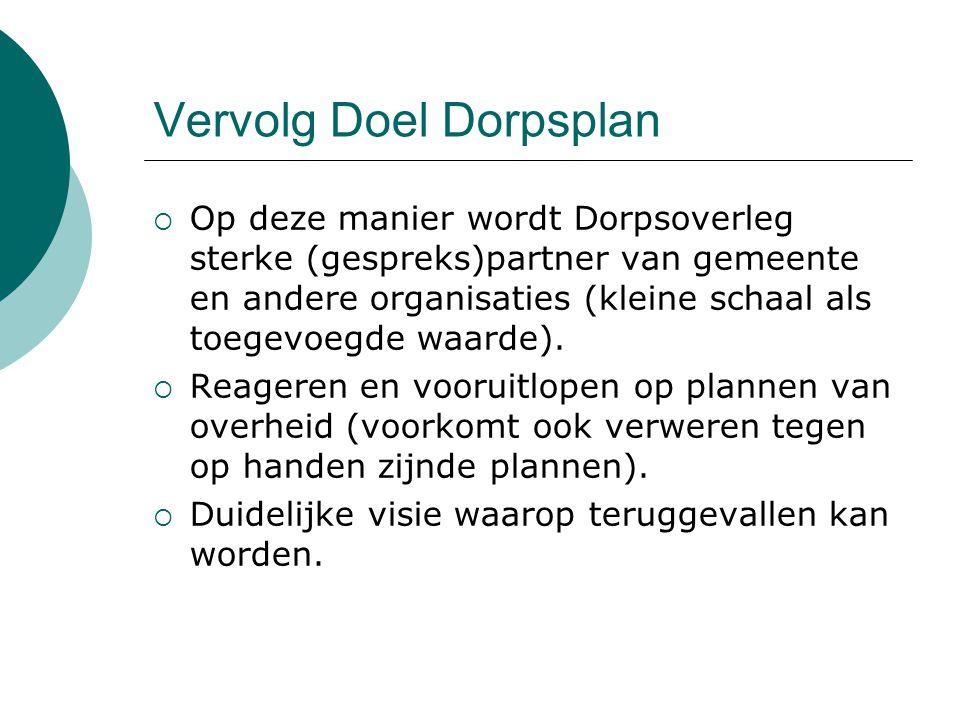 Vervolg Doel Dorpsplan  Op deze manier wordt Dorpsoverleg sterke (gespreks)partner van gemeente en andere organisaties (kleine schaal als toegevoegde waarde).