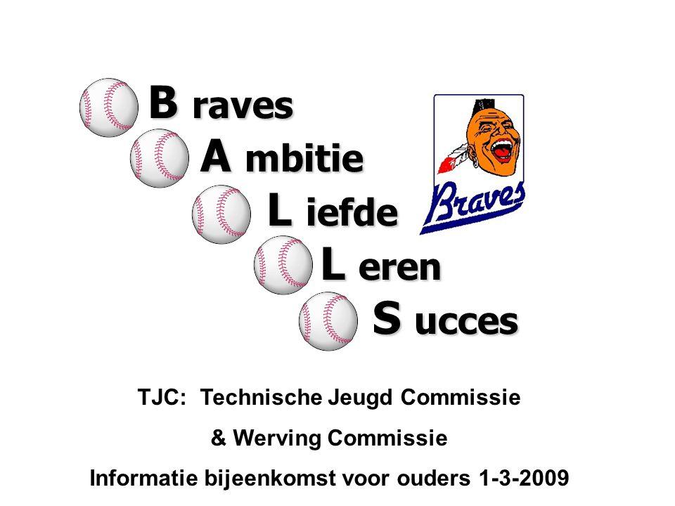 TJC: Technische Jeugd Commissie & Werving Commissie Informatie bijeenkomst voor ouders 1-3-2009 B raves A mbitie A mbitie L iefde L iefde L eren L ere