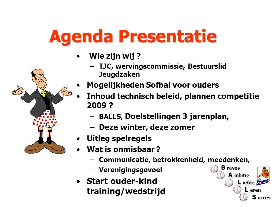 Agenda Presentatie Wie zijn wij ? –TJC, wervingscommissie, Bestuurslid Jeugdzaken Mogelijkheden Sofbal voor ouders Inhoud technisch beleid, plannen co