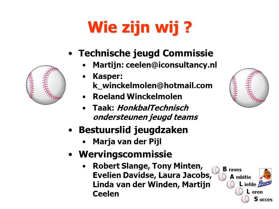 Wie zijn wij ? Technische jeugd Commissie Martijn: ceelen@iconsultancy.nl Kasper: k_winckelmolen@hotmail.com Roeland Winckelmolen Taak: HonkbalTechnis