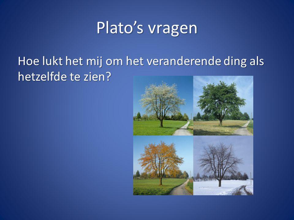 Plato's vragen Hoe lukt het mij om het veranderende ding als hetzelfde te zien?