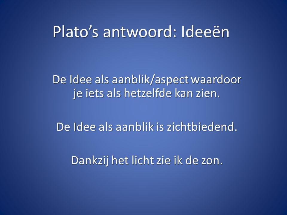 Plato's antwoord: Ideeën De Idee als aanblik/aspect waardoor je iets als hetzelfde kan zien.