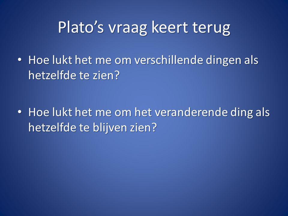 Plato's vraag keert terug Hoe lukt het me om verschillende dingen als hetzelfde te zien.