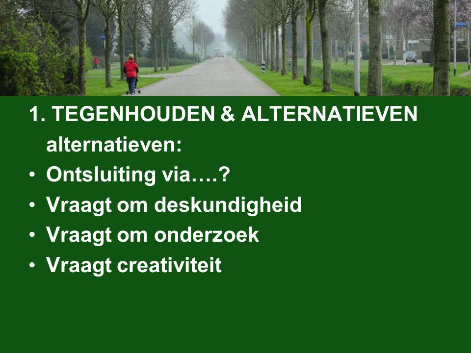 1. TEGENHOUDEN & ALTERNATIEVEN alternatieven: Ontsluiting via…..