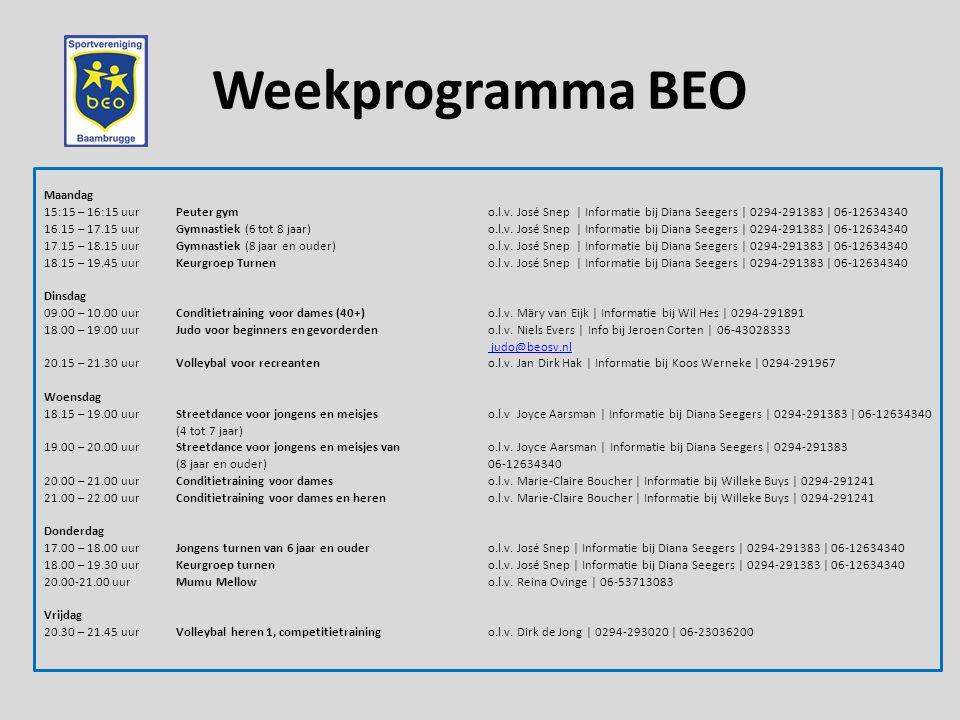 Weekprogramma BEO Maandag 15:15 – 16:15 uurPeuter gymo.l.v.