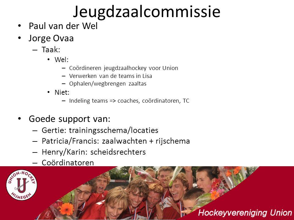 Jeugdzaalcommissie Paul van der Wel Jorge Ovaa – Taak: Wel: – Coördineren jeugdzaalhockey voor Union – Verwerken van de teams in Lisa – Ophalen/wegbre