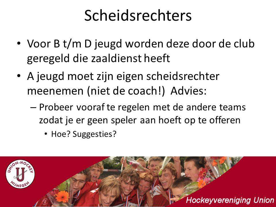 Scheidsrechters Voor B t/m D jeugd worden deze door de club geregeld die zaaldienst heeft A jeugd moet zijn eigen scheidsrechter meenemen (niet de coa