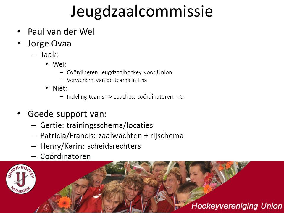 Jeugdzaalcommissie Paul van der Wel Jorge Ovaa – Taak: Wel: – Coördineren jeugdzaalhockey voor Union – Verwerken van de teams in Lisa Niet: – Indeling